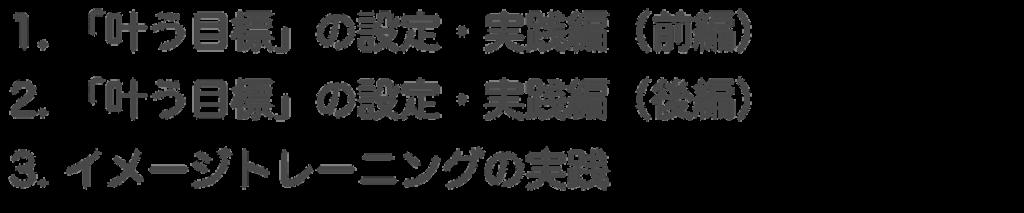 1.「叶う目標」の設定・実践編(前編) 2.「叶う目標」の設定 実践編(後編) 3. イメージトレーニングの実践